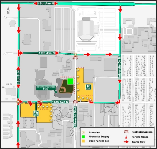 Fireworks Show Parking and Traffic Map